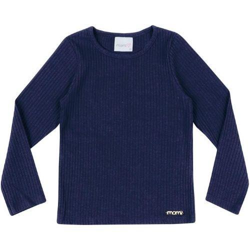 Blusa Feminina Infantil Canelada Azul Marinho