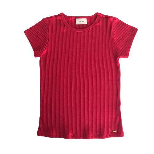 Blusa Infantil Feminina Canelada Vermelha