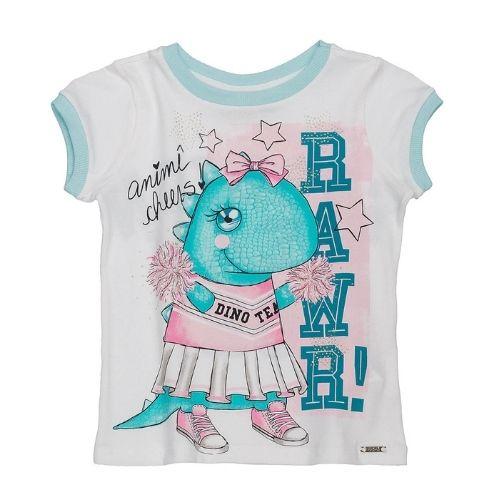 Blusa Infantil Feminina Branca Dino Fashion Team Animê