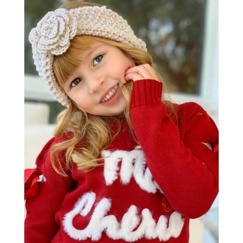 Blusa Infantil Feminina Tricô Vermelha Ma Cherie Infanti