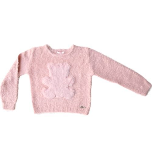 Blusa Infantil Feminina Fluffy Rosa com Urso