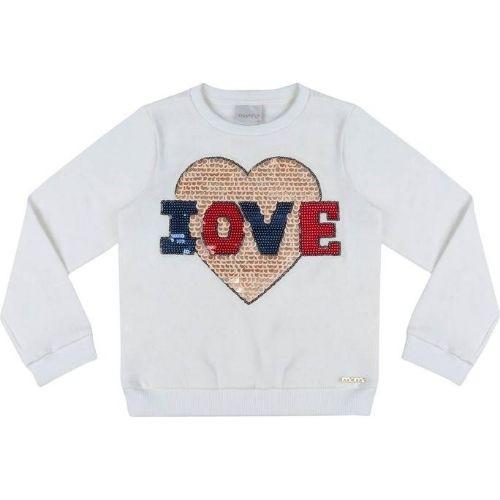 Blusa Moletom Infantil Feminina com Coração de Paetê Reversível