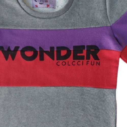 Blusa Moletom Infantil Feminina Cinza Wonder Colcci Fun