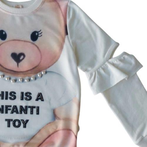 Blusa Moletom Infantil Feminina Ursa Pérolas