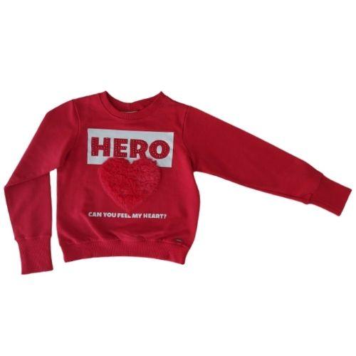 Blusa Moletom Infantil Feminina Vermelha Coração