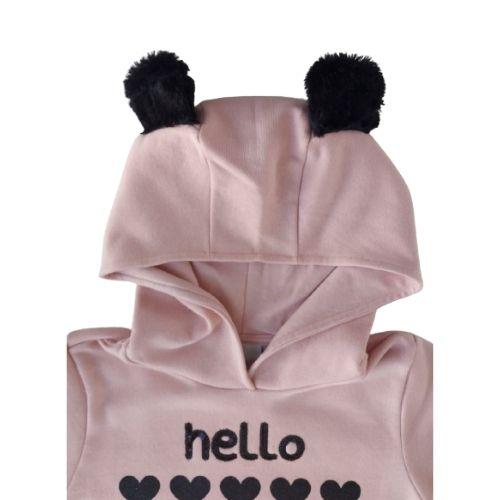 Blusa Moletom Infantil Feminino Rosa com Orelhinhas