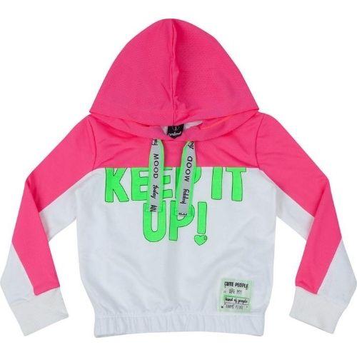 Blusa Moletom Infantil Feminina Pink e Verde Neon com Capuz