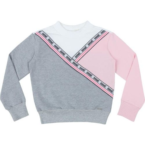 Blusa Moletom Infantil Feminina Tricolor com Cadarço Logomarca