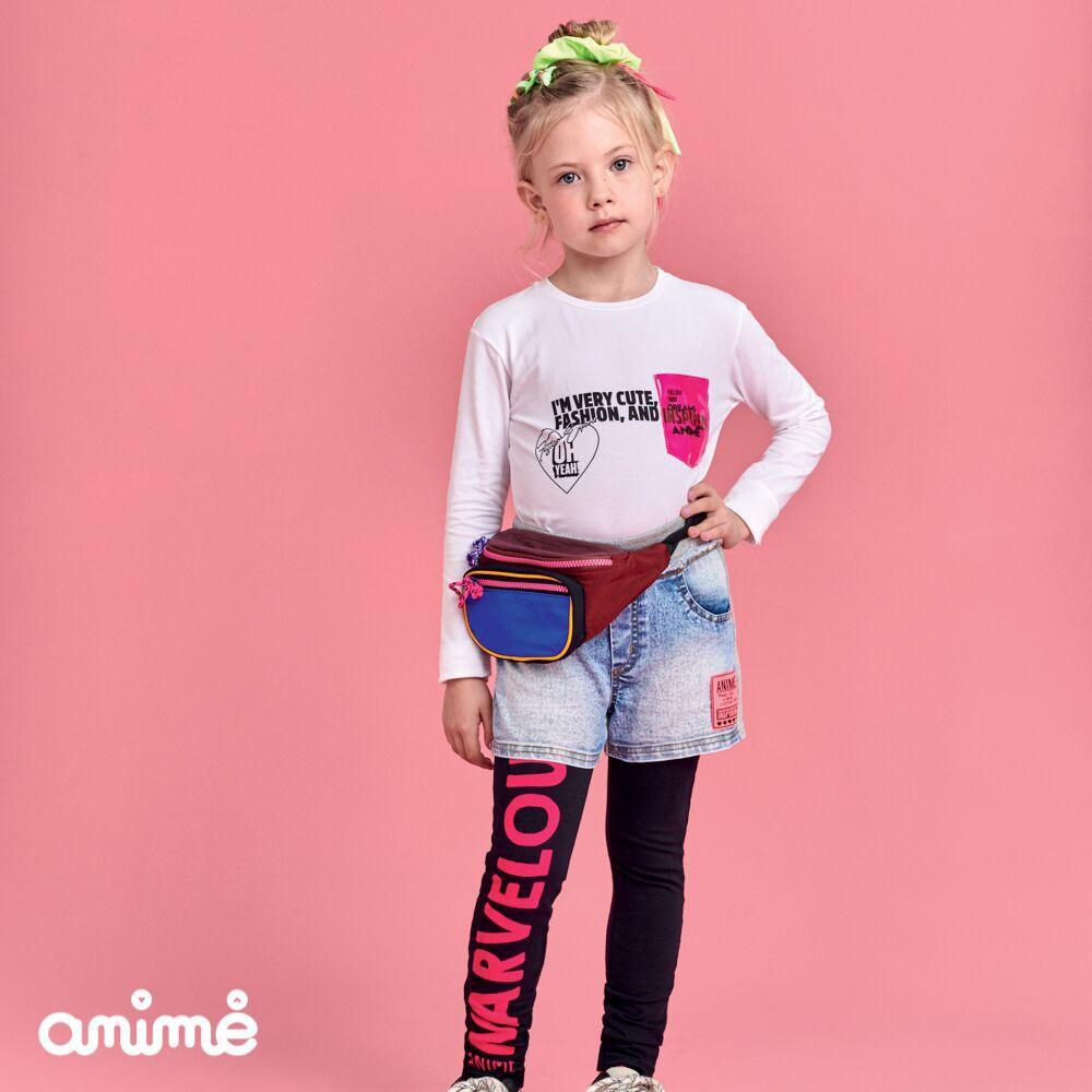 Blusa Infantil Feminina com Aplicação de Bolso Plástico