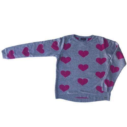 Blusa Tricô Infantil Feminina Cinza com Corações Pink