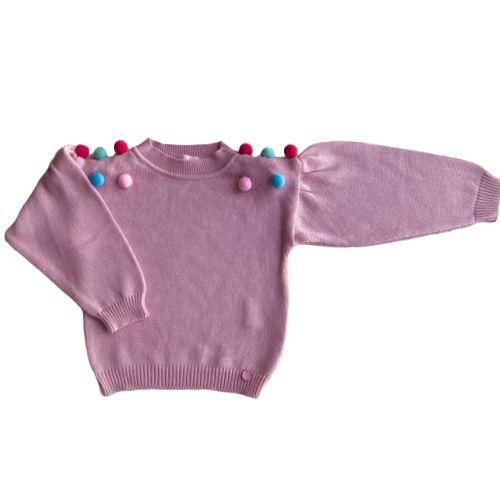 Blusa Tricô Infantil Feminina com Pompons Coloridos Mon Sucré