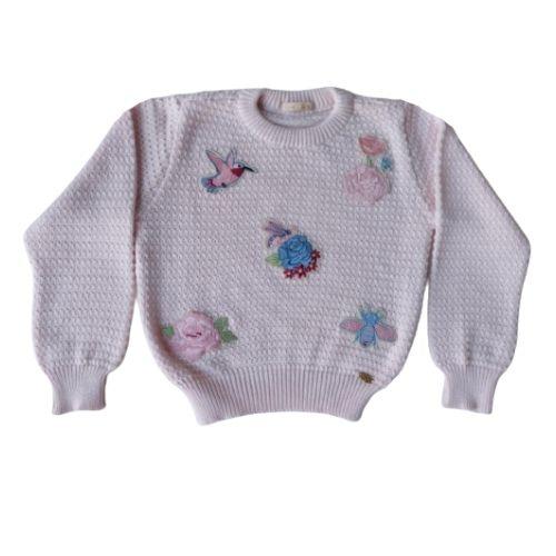 Blusa Tricô Infantil Feminina Rosa Petit Cherie