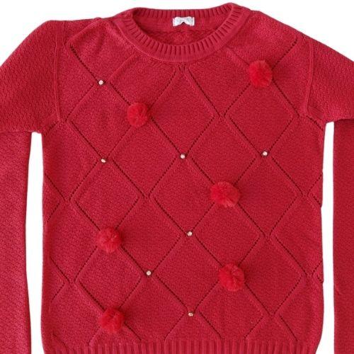 Blusa Tricô Infantil Feminina Vermelha Infanti