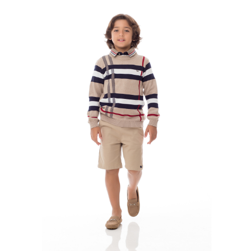 Blusa Tricô Infantil Masculina Xadrez