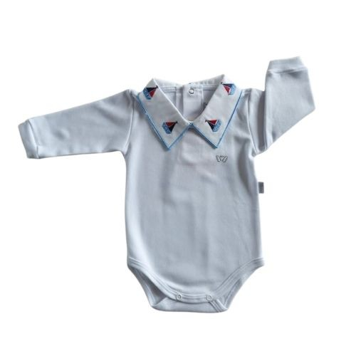 Body Bebê Masculino com Gola Bordada