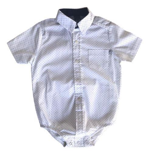 Body Camisa Masculina Bebê Poá