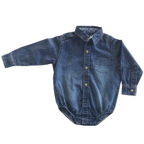 Body Camisa Jeans Masculino Bebê 1+1