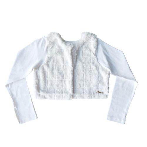 Bolero Infantil Feminino Branco Pelinhos Momi
