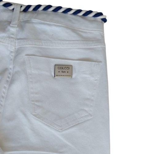 Calça Capri Infantil Feminina Off White com Cordão