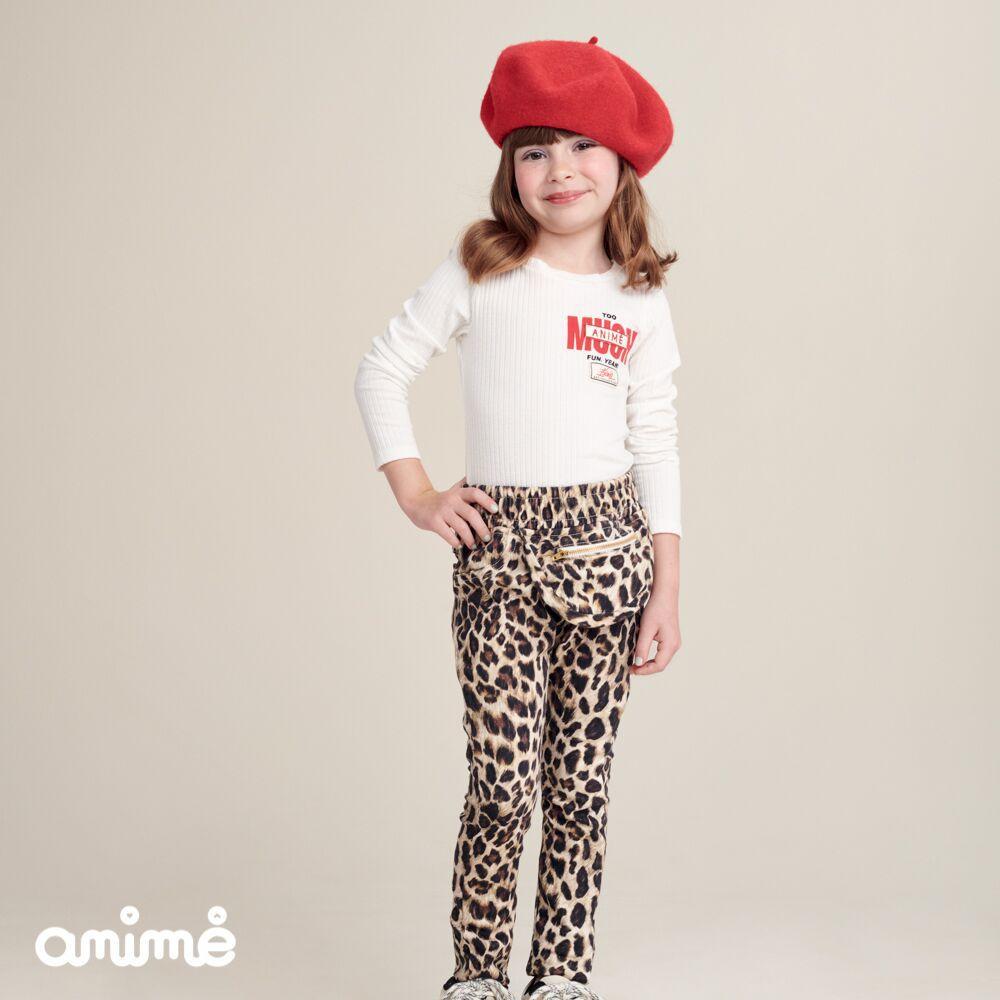 Calça Infantil Feminina Animal Print com Pochete