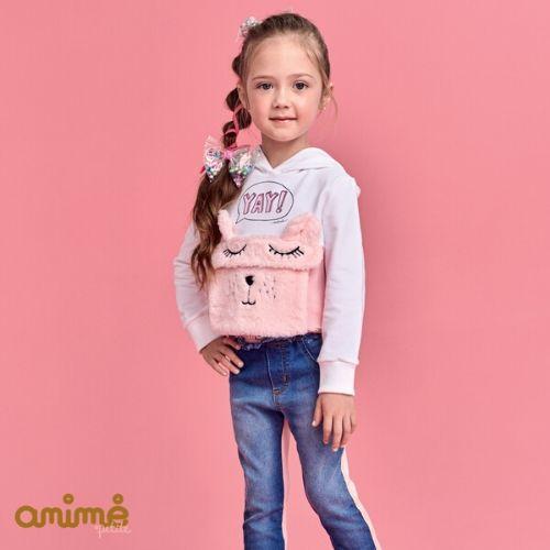 Calça Jeans Feminina Infantil com Moletom Rosa Animê