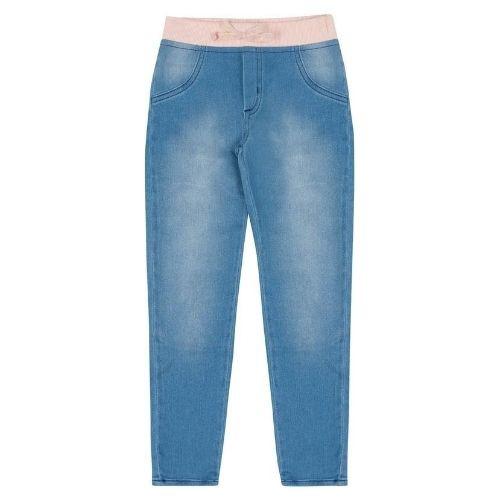 Calça Jeans Infantil Feminina Cós Cor de Rosa