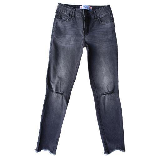 Calça Jeans Infantil Feminina Preta Destroyed