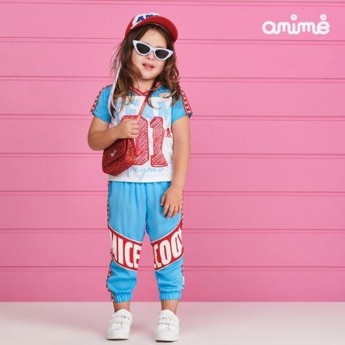 Calça Jogger Infantil Feminina Azul Listra Corações