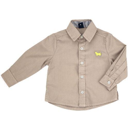 Camisa Infantil Masculina Cinza Logo Bordada 1+1