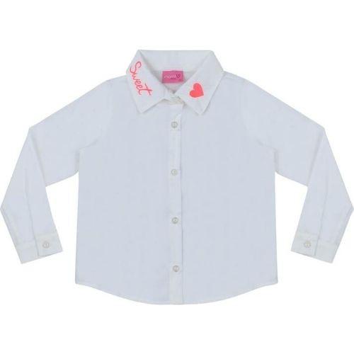 Camisa Infantil Feminina com Gola Bordada