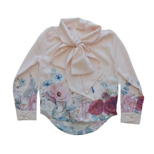 Camisa Infantil Feminina com Botões de Pérola