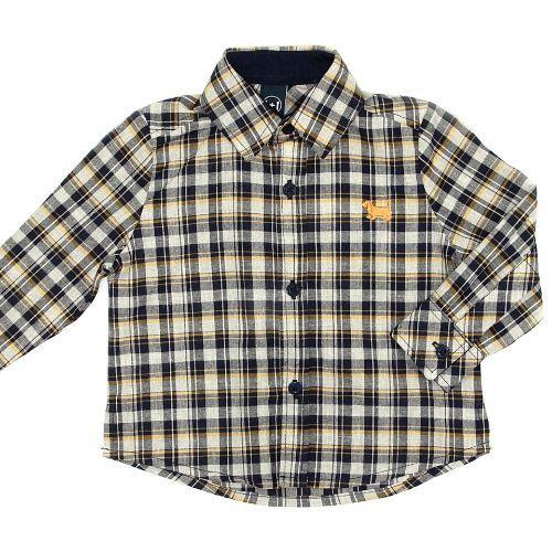 Camisa Infantil Masculina Xadrez com Logo