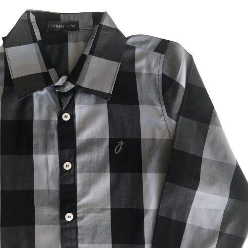 Camisa Infantil Xadrez Masculina Preta e Cinza