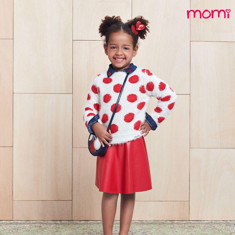 Camisa Jeans Infantil Feminina com Gola Bordada Momi