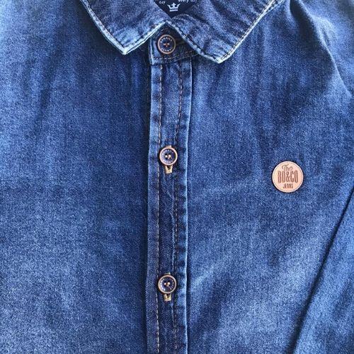 Camisa Jeans Infantil Masculina Estonada