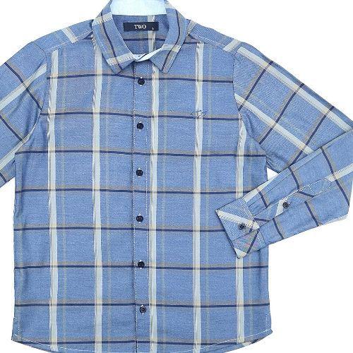 Camisa Infantil Masculina Xadrez Azul e Cinza