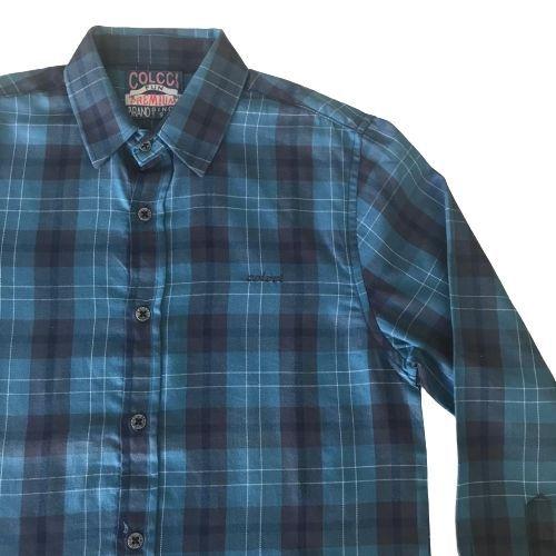 Camisa Xadrez Infantil Masculina Azul com Preto
