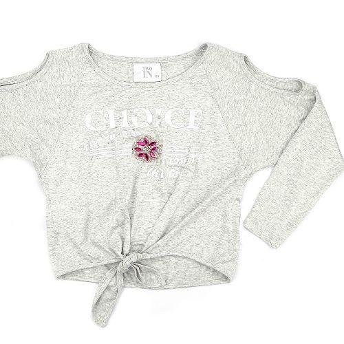 Blusa Infantil Feminina Cinza com Aplicação Pedras