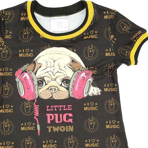 Camiseta Infantil Feminina Estampada Pug