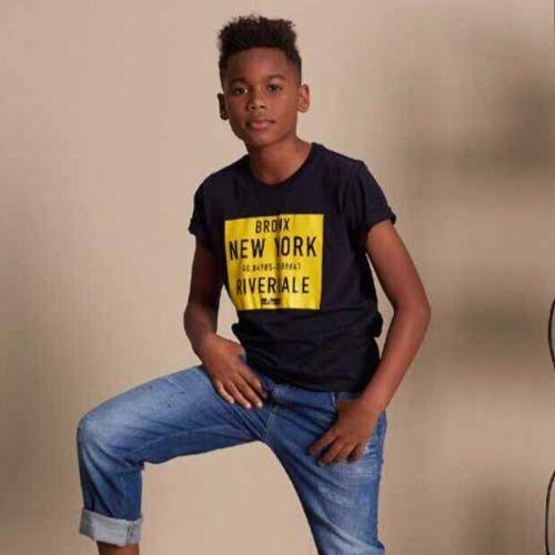 Camiseta Infantil Masculina Azul Bronx New York