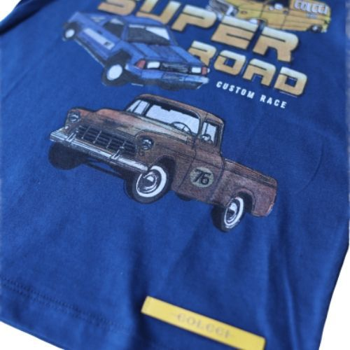 Camiseta Masculina Infantil Azul Carros