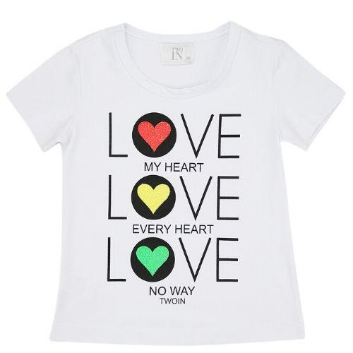 Camiseta Infantil Feminina Branca Love