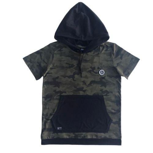 Camiseta Infantil Masculina Camuflada com Capuz