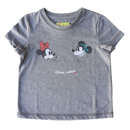 Camiseta Infantil Feminina Cinza Mickey e Minnie
