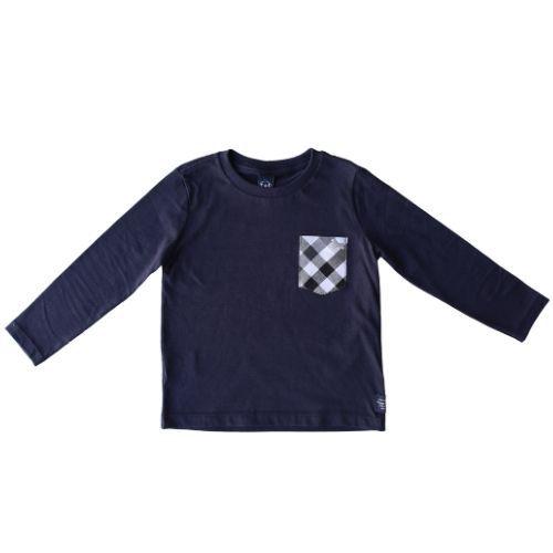 Camiseta Infantil Masculina com Bolso Xadrez