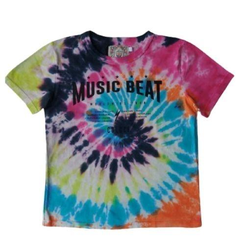 Camiseta Infantil Feminina Tie Dye Music Beat