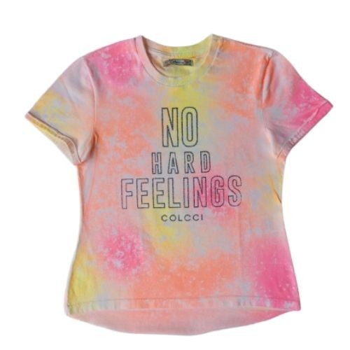 Camiseta Infantil Feminina Tie Dye No Hard Feelings