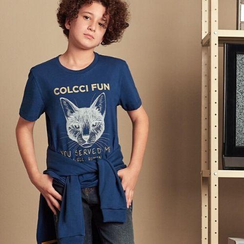 Camiseta Infantil Masculina Gato You Served Me