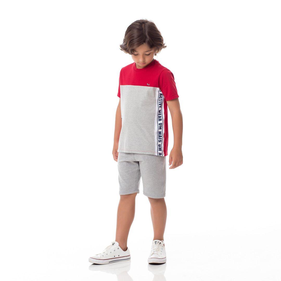 Camiseta Infantil Masculina Logo Lateral