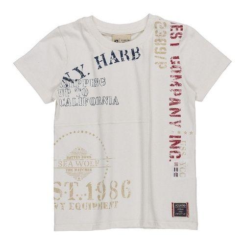 Camiseta Infantil Masculina Branca  com Recortes e Escritas